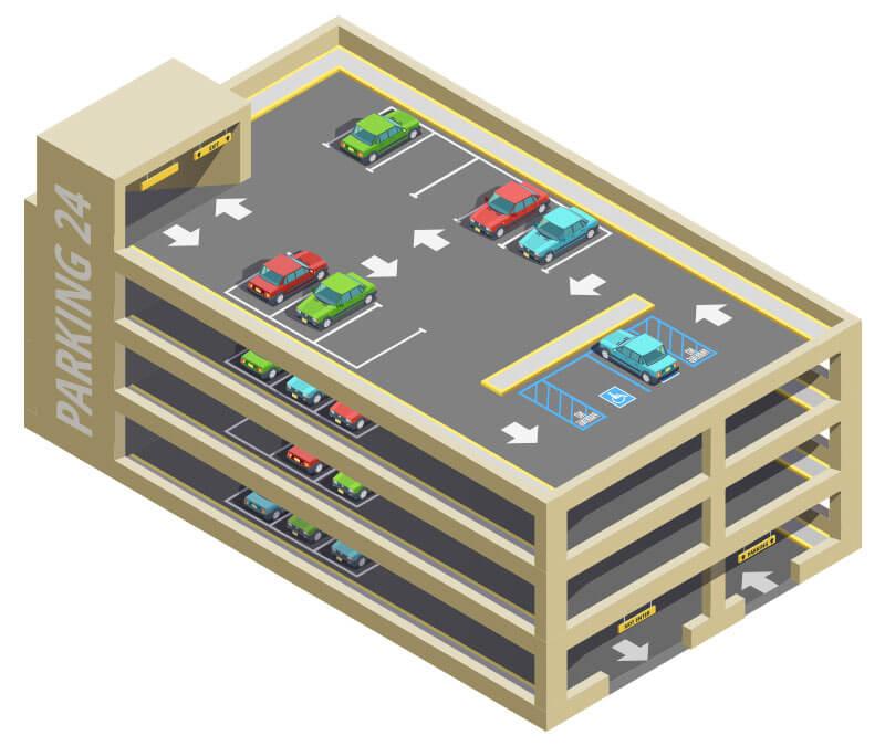 Multi-level parking lot illustration