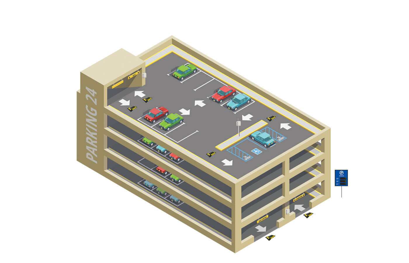Multi-level parking lot infographic illustration